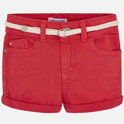 Mayoral Girls Basic Twill Shorts with Belt