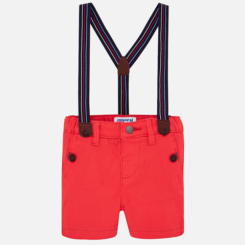 Mayoral Baby Boy Red Chino Shorts with braces