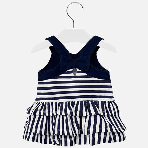 Mayoral Baby Girl Navy Stripe Frill Dress