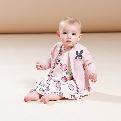 The Bonnie Mob, Baby Zip Knit Cardigan & Intarsia Bunny Pocket, Pale Pink