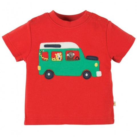 Frugi, Little Wheels Applique Top, Tomato/Taxi