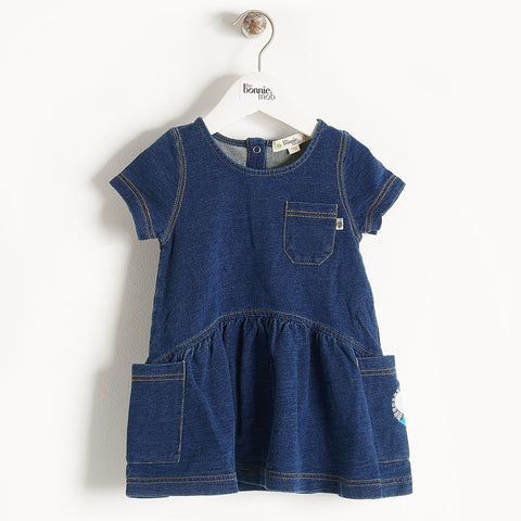 The Bonnie Mob, Baby Hana Denim Stretch Terry Dress, Plain Denim & Badge Pack
