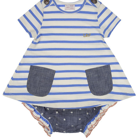 Lilly & Sid Sailor Stripe Dress and Frill Chambray Pants Set