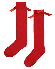 Lilly & Sid, Bow Knee High Socks, Red