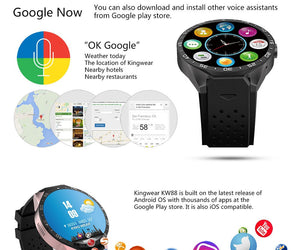 Lemfo KW88 MTK6580 2016 Android 5.1 OS Smart Watch, Phone, 400*400 Screen, Quad Core, Smartwatch, Supports SIM, Pedometer, Heart Rate, 2.0Mpx Camera - 2Ground