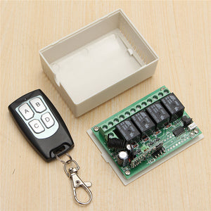 High Sensitivity 12 Volt DC 4-Channel Wireless Remote Controller Radio Switch 315MHz 200m Transmitter Receiver - 2Ground