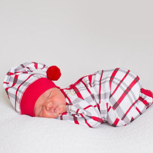 L'ovedbaby Organic Red Plaid Gloved-Sleeve Overall and Pom Pom Cap Set
