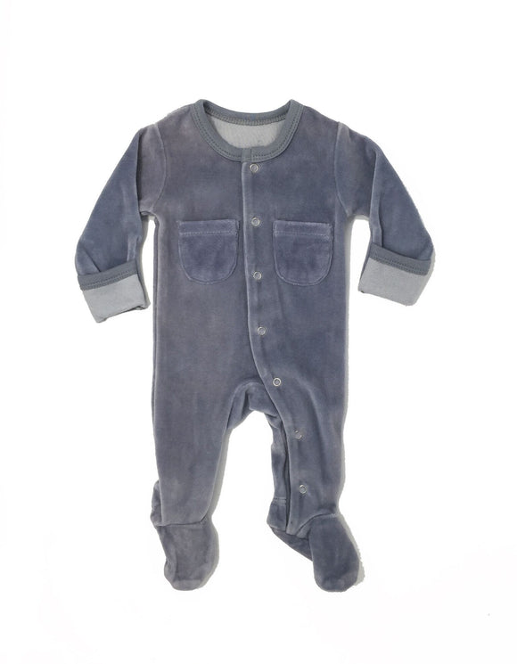 L'ovedbaby Grey Organic Velour Footed Overalls