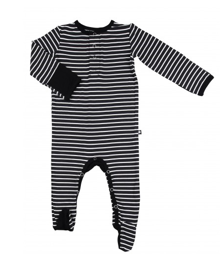 Incredibly Soft Bamboo Footie - Black Stripe