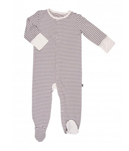 Incredibly Soft Bamboo Footie - Grey Stripe (NB, 0-3, 3-6, 6-12)
