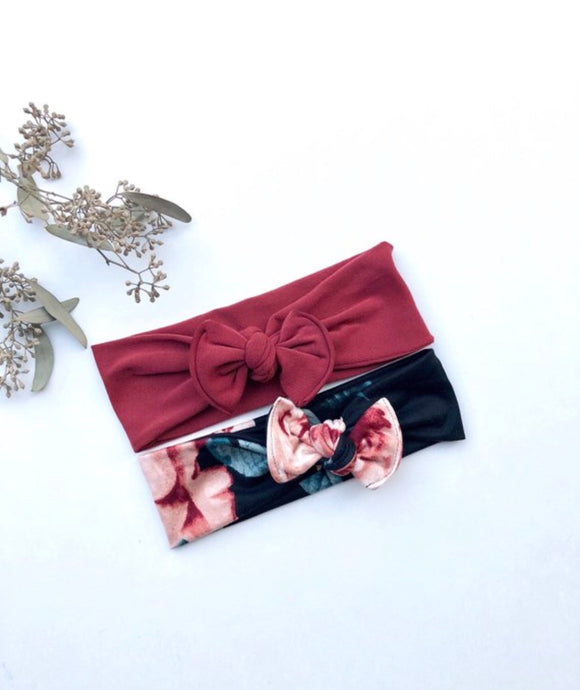 Burgundy Floral Knotted Bow Baby Girl's Headwrap Headband Set