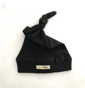 L'ovedbaby Organic Cotton Thermal Knotted Cap - Black (NB, 0-6, 6-12, 12-24)