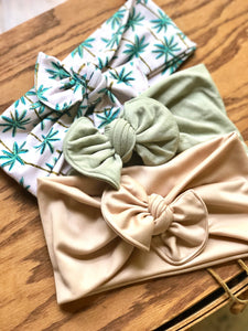 Blush Palm Tree Stretch Headwrap Set| Women's Headwrap| Newborn Headband