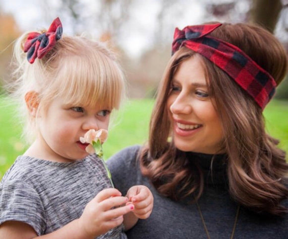 Red Buffalo Plaid Boho  Headband, Baby Headband