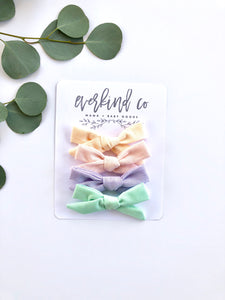 Neutral Pastel Baby Bow Clip or Headband Set