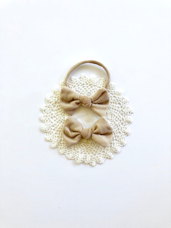 Cream Nude Knotted Baby Bow
