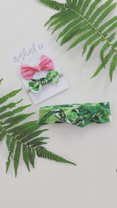 Summer Palm Baby Bow Set
