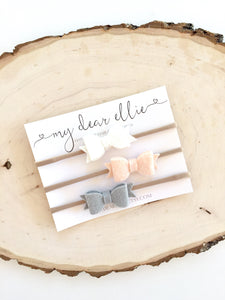 My Dear Ellie - Mini Neutral Bow Clips