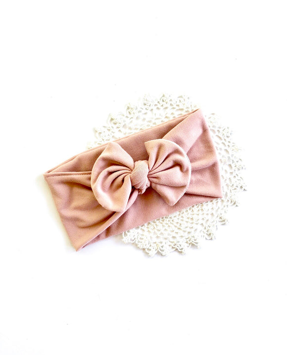 Dusty Rose Pink Knotted Bow Headwrap| Newborn Headband