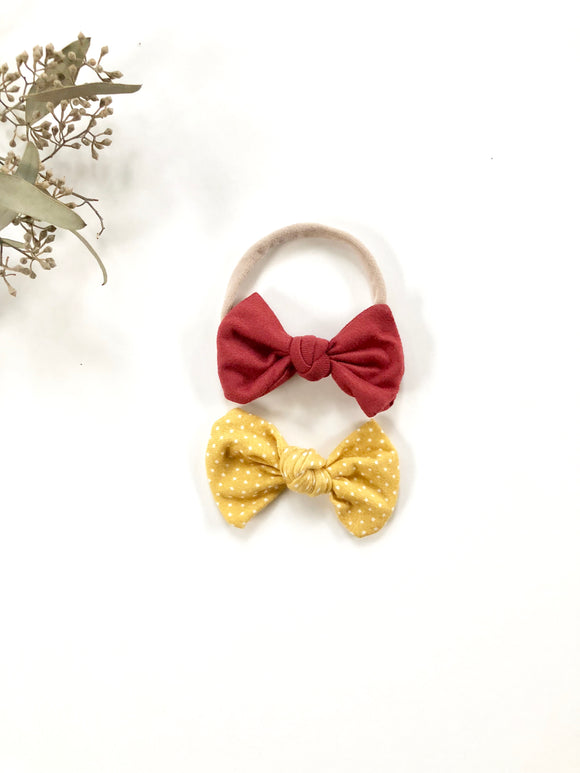 Mustard Yellow Dot Knotted Baby Bow Set