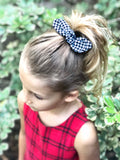 Houndstooth Black Holiday Knotted Baby Bow
