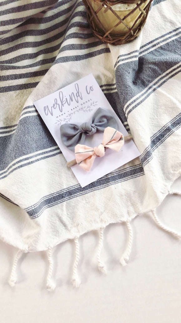 Blush Plaid & Grey Baby Bow Set