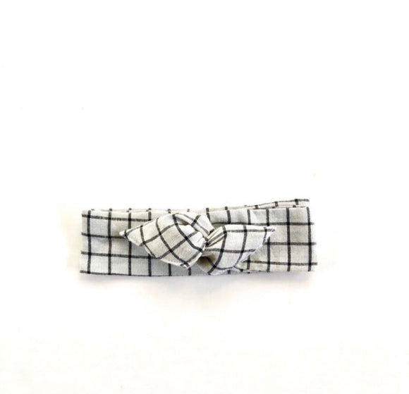 Grey Boho Plaid Women's / Girl's Wire Headband