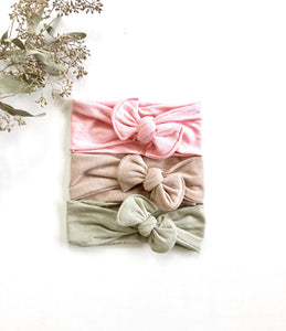 Neutral Blush Knotted Baby Headwrap Headband Set