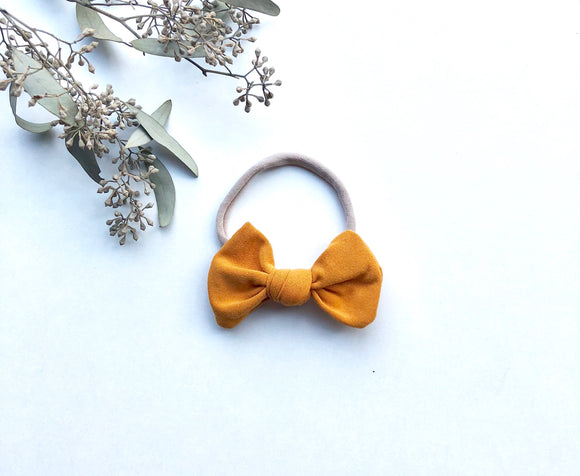 Mustard Yellow Knotted Baby Bow