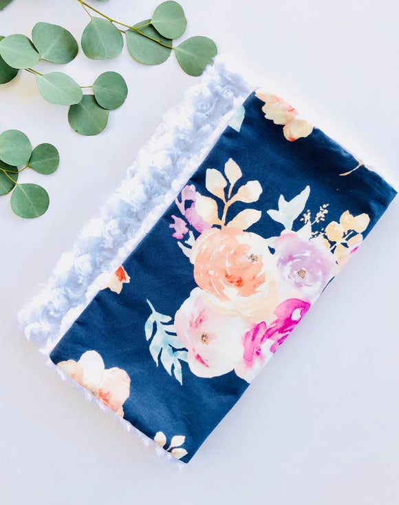 Navy Floral Baby Security Blanket (Lovey)