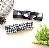 Buffalo Plaid Gingham Boho Girl's Headband, Baby Headband