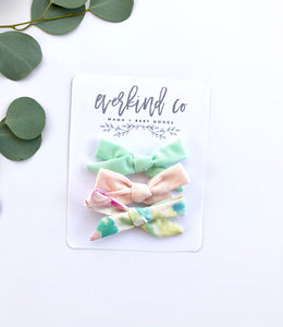 Watercolor Floral Mini Bow Set
