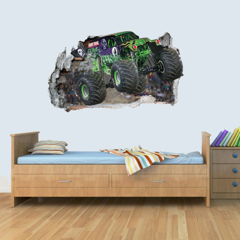 Vinyl Wall Smashed 3D Art Stickers of Monster Truck Poster Bedroom Boys Girls