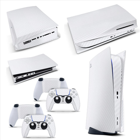 PS5 Disk Console Carbon White Skin Decal Sticker + 2 Controller Skins Set