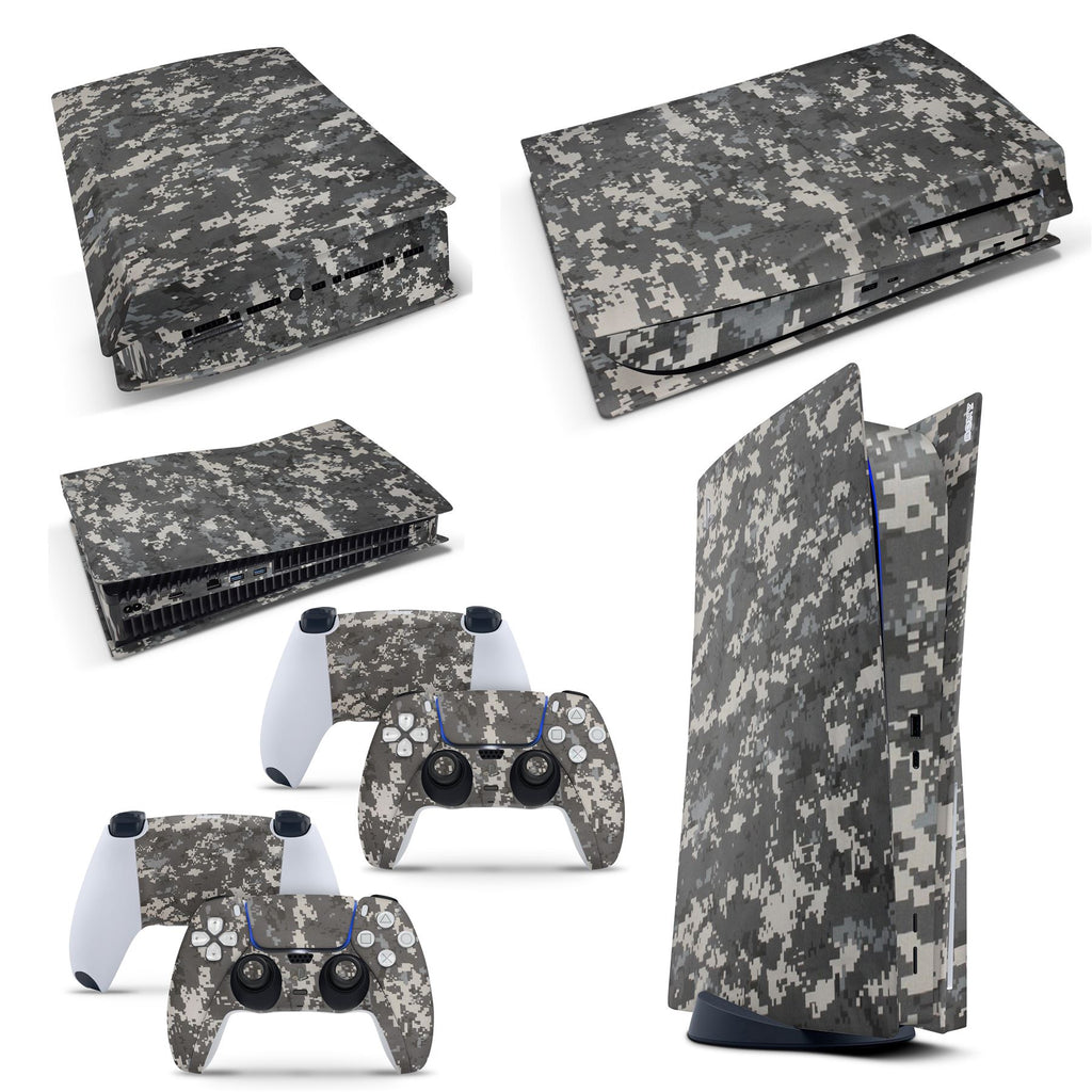 PS5 Disk Console DIGITAL CAMO Skin Decal Vinal Sticker + 2 Controller Skins Set