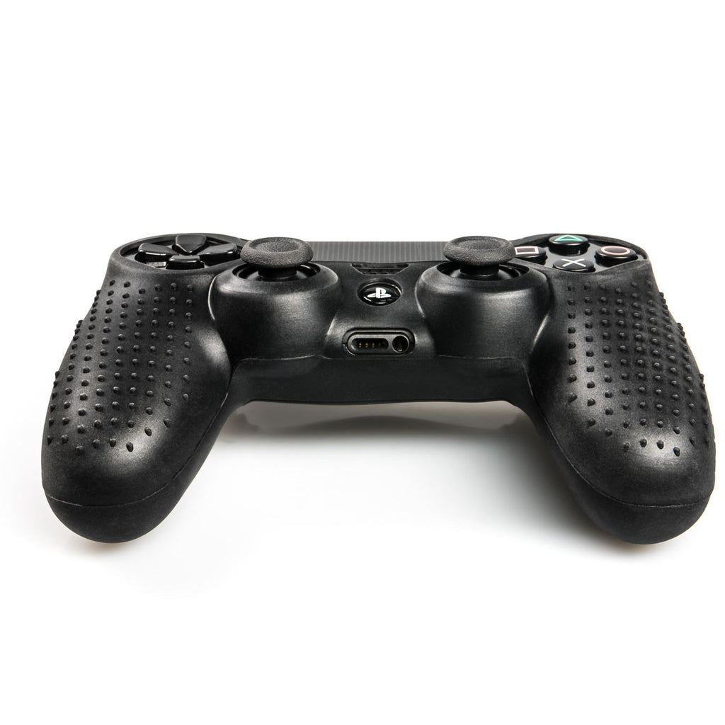 GNG Studded silicone cover skin anti-slip Compatible for PS4/ SLIM/ PRO controller x 1(Black)  + PS4 Decals x 6