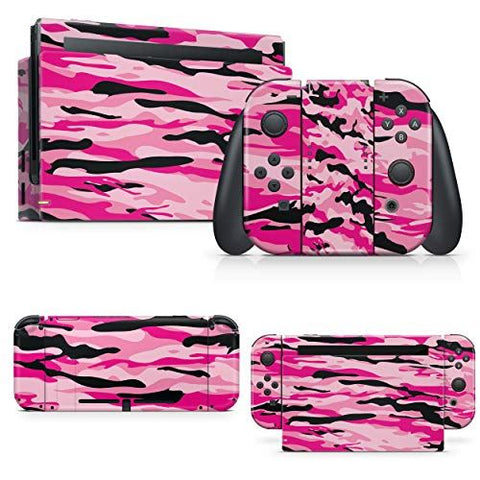 giZmoZ n gadgetZ PINK CAMO Skin Decal vinyl Sticker Compatible with Nintendo Switch Console + 1 Controller Skins Set