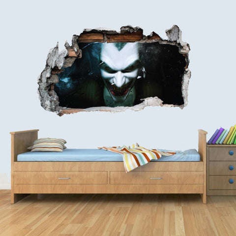Vinyl Wall Smashed 3D Art Stickers of Illustrated Joker Poster Bedroom Boys Girls