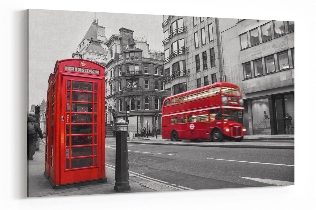 A3 30x45cm London Canvas Black White Red Wall Art for your Living Room Prints - Pictures