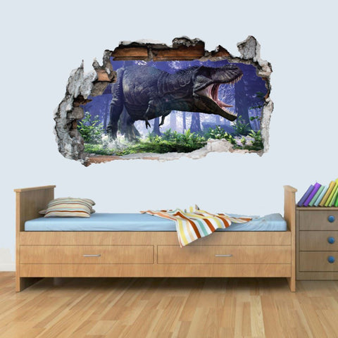 Vinyl Wall Smashed 3D Art Stickers of Illustrated T-REX Dinosaur Poster Bedroom Boys Girls