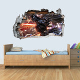 Vinyl Wall Smashed 3D Art Stickers of Illustrated Darth Vader Poster Bedroom Boys Girls