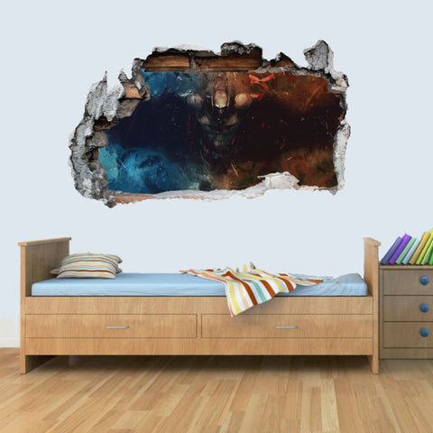 Vinyl Wall Smashed 3D Art Stickers of Illustrated Batman Poster Bedroom Boys Girls