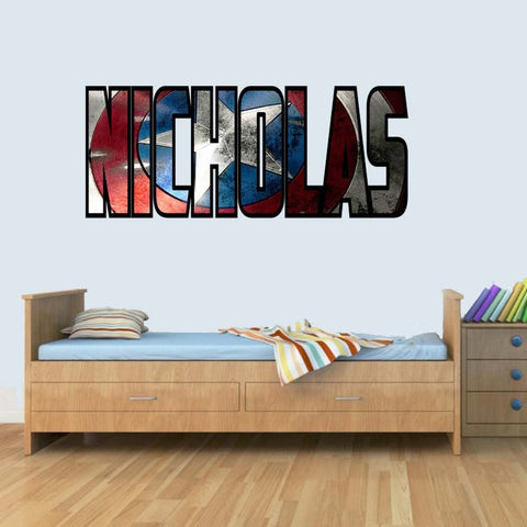 XL Customisable Marvel Shield Childrens Name Stickers Wall Art Decal Vinyl for Boys/Girls Bedroom