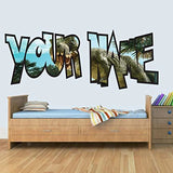 L Customisable Dinosaur Childrens Name Wall Art Decal Vinyl Stickers for Boys/Girls Bedroom