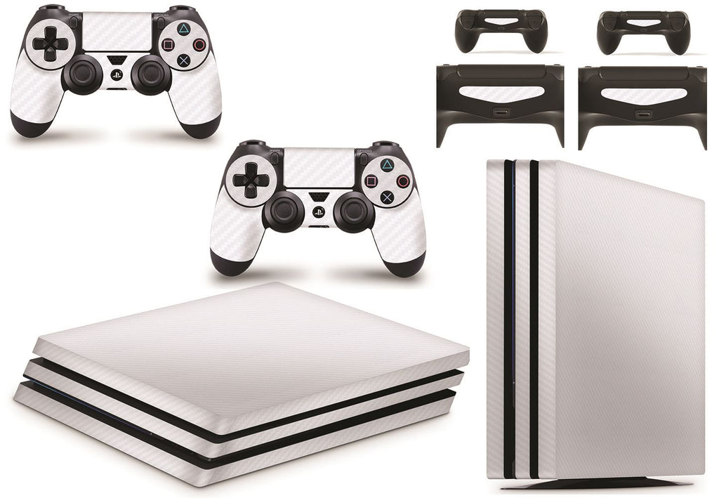 giZmoZ n gadgetZ PS4 PRO Console Skin Vinyl Cover Decal Sticker Carbon White + 2 Controller Skins Set