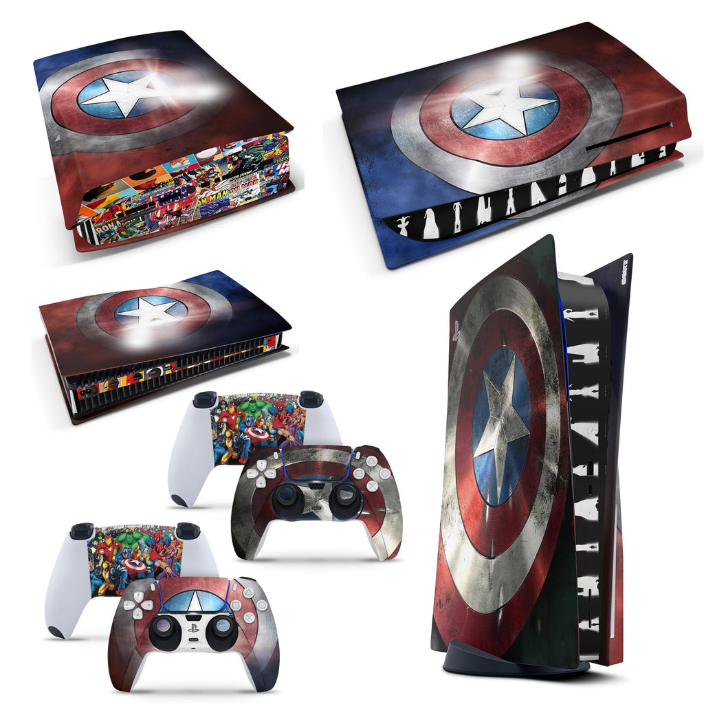 PS5 Disk Console  Superhero Skins for PS5 Disk Playstation 5 Console Decal Sticker + 2 Controller Set