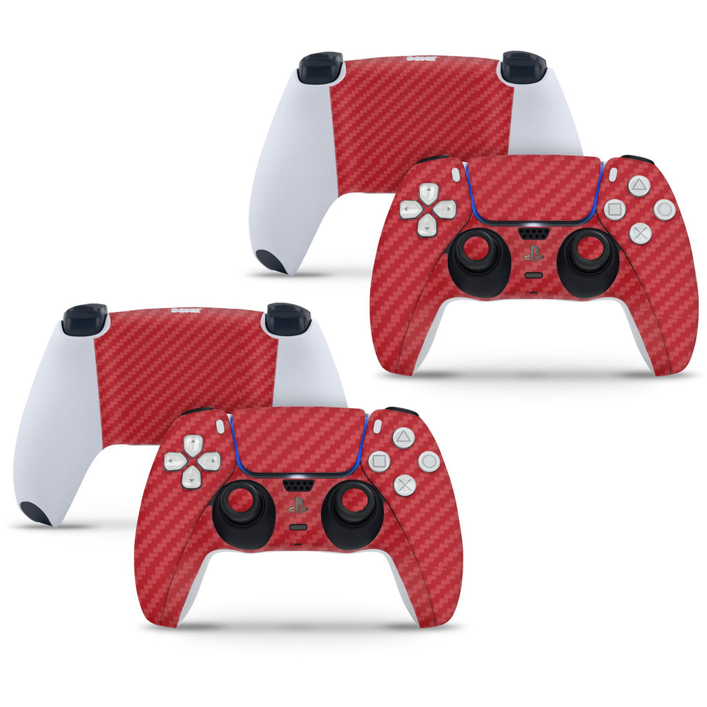 2 x Carbon Red Playstation 5 PS5 Controller Skins Full Wrap Vinyl Sticker
