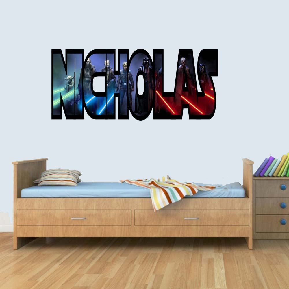 L Customisable Star Wars Jedi Childrens Name Wall Art Stickers Decal Vinyl for Boys/Girls Bedroom