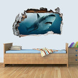Vinyl Wall Smashed 3D Art Stickers of Illustrated SHARK Poster Bedroom Boys Girls