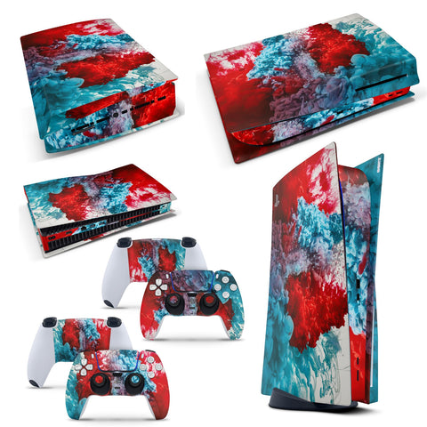 PS5 Disk Console Colour Explosion Skin Decal Vinal Sticker + 2 Controller Skins Set
